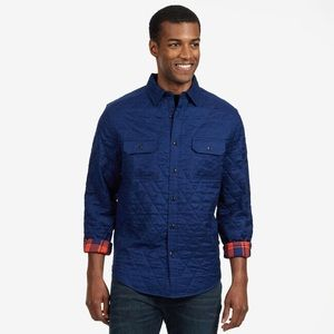 Nautica Quilted Plaid Twill Button Up Shirt Jacket